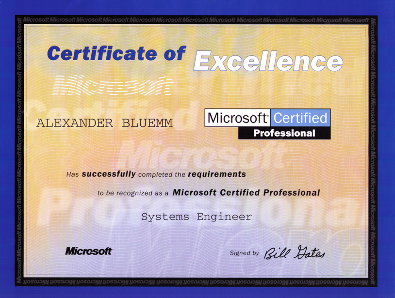 MCSE Zertifikat für Windows 2000 | Computer Consulting Blümm