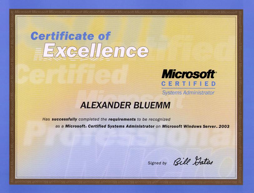 MCSA- und MCSE-Zertifikat für Windows 2003 | Computer Consulting Blümm
